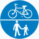 C-13 C-16 Droga dla pieszych i kierujących rowerami jednośladowymi. Umieszczone na jednej tarczy symbole znaków C-13 i C-16 oznaczają, że droga jest przeznaczona dla pieszych i kierujących rowerami jednośladowymi; Symbole oddzielone kreską poziomą oznaczają, że ruch pieszych i rowerzystów odbywa się na całej szerokości jezdni