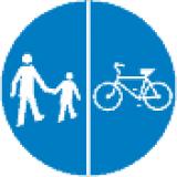 C-16 C-13 Droga dla pieszych i kierujących rowerami jednośladowymi. Umieszczone na jednej tarczy symbole znaków C-13 i C-16 oznaczają, że droga jest przeznaczona dla pieszych i kierujących rowerami jednośladowymi; Symbole oddzielone kreską pionowo oznaczają, że ruch pieszych i rowerzystów odbywa się odpowiednio po prawej i lewej stronie jezdni