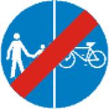 C-16 C-13 Koniec drogi dla pieszych i kierujących rowerami jednośladowymi. Występuje w 2 odmianach, odpowiednio dla znaków rozpoczynających drogę dla pieszych i kierujących rowerami jednośladowymi