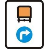C-17 Nakazany kierunek jazdy dla pojazdów z materiałami niebezpiecznymi. Oznacza obowiązujący dla pojazdów przewożących materiały niebezpieczne, wskazany znakami C-2, C-4, C-5, C-6, C-7 lub C-8, kierunek jazdy na skrzyżowaniu