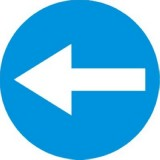 C-3 Nakaz jazdy w lewo przed znakiem. Zobowiązuje kierującego do jazdy w lewo przed znakiem; znak ten może być umieszczony na przedłużeniu osi drogi (jezdni) lub na samej jezdni. Znak obowiązuje na najbliższym skrzyżowaniu lub w miejscu, gdzie występuje możliwość zmiany kierunku jazdy