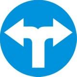 C-8 Nakaz jazdy w prawo lub w lewo. Zobowiązuje kierującego do jazdy w prawo lub w lewo; znak ten może być umieszczony na przedłużeniu osi drogi (jezdni) lub na samej jezdni. Znak obowiązuje na najbliższym skrzyżowaniu lub w miejscu, gdzie występuje możliwość zmiany kierunku jazdy