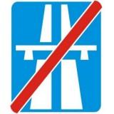 D-10 Koniec autostrady. Oznacza koniec autostrady. Umieszczona pod znakiem tabliczka T-1a wskazuje odległość do końca autostrady