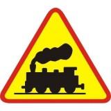 A-10 Przejazd kolejowy bez zapór. Ostrzega o przejeździe kolejowym niewyposażonym ani w zapory, ani w półzapor