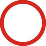 B-1 Zakaz ruchu w obu kierunkach. Oznacza zakaz ruchu na drodze pojazdów, kolumn pieszych oraz jeźdźców i poganiaczy; znak może być ustawiony na jezdni. Umieszczona pod znakiem B-1 tabliczka T-22 wskazuje, że zakaz nie dotyczy rowerów jednośladowych