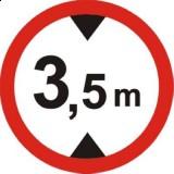 B-16 Zakaz wjazdu pojazdów o wysokości ponad ... m. Oznacza zakaz ruchu pojazdów, których wysokość (również z ładunkiem) jest większa od wartości podanej na znaku