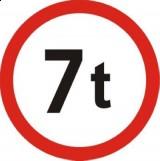 B-18 Zakaz wjazdu pojazdów o rzeczywistej mc ponad ... t. Oznacza zakaz ruchu pojazdów, których rzeczywista masa całkowita jest większa od wartości podanej na znaku; w przypadku zespołu pojazdów zakaz dotyczy ich łącznej masy