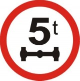 B-19 Zakaz wjazdu pojazdów o nacisku osi większym niż ... t. Oznacza zakaz ruchu pojazdów, których nacisk osi jest większy od nacisku odpowiadającego masie podanej na znaku; w przypadku osi wielokrotnej nacisk żadnej z osi składowych nie może odpowiadać masie większej niż 80% masy podanej na znaku