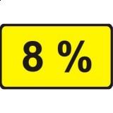 Tabliczka T-9 Tabliczka wskazująca wielkość spadku lub wzniesienia. Umieszczona pod znakiem A-22 lub A-23 tabliczka T-9 wskazuje rzeczywistą wielkość wzniesienia/spadku, np. wartość 8% oznacza, że droga na długości 100m wznosi się/obniża o 8 m